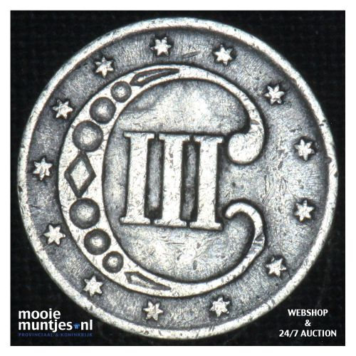 silver 3 cents - type 1 -  - United States of America/Circulation coinage 1852 (