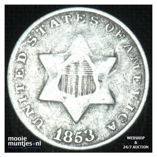 silver 3 cents - type 1 -  - United States of America/Circulation coinage 1853 (