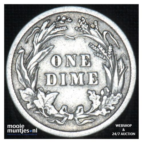 dime - barber - - United States of America 1908 (KM 113) (kant B)