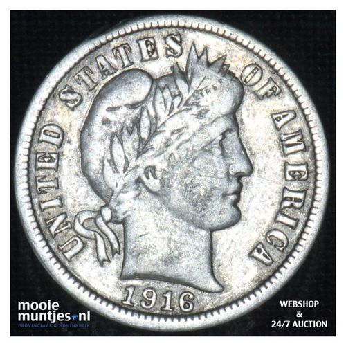dime - barber - - United States of America 1916 (KM 113) (kant A)