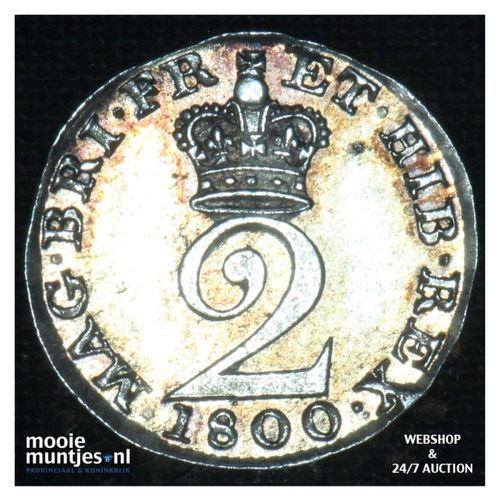 2 pence - Great Britain 1800 (KM 615) (kant A)