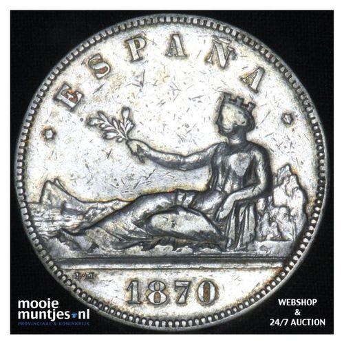 5 pesetas - third decimal coinage -  - Spain 1870 (KM 655) (kant A)