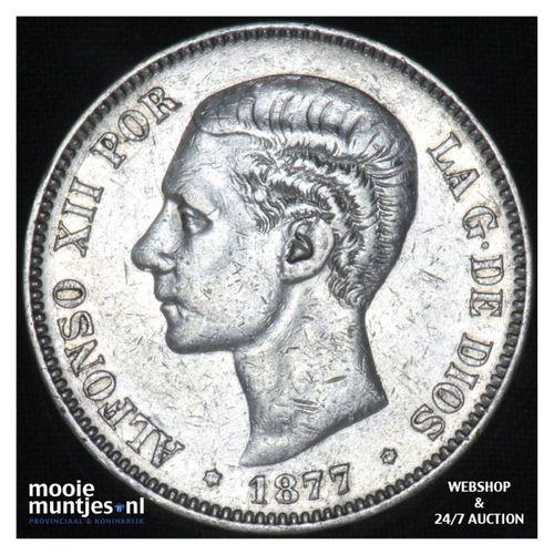 5 pesetas - third decimal coinage -  - Spain 1877 (77) DE-M (KM 676) (kant A)