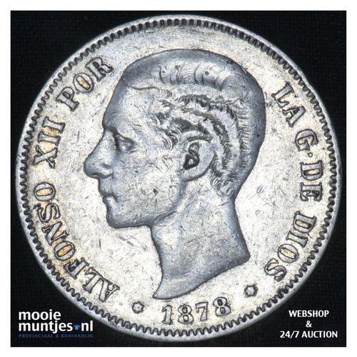5 pesetas - third decimal coinage -  - Spain 1878 (78) DE-M (KM 676) (kant A)