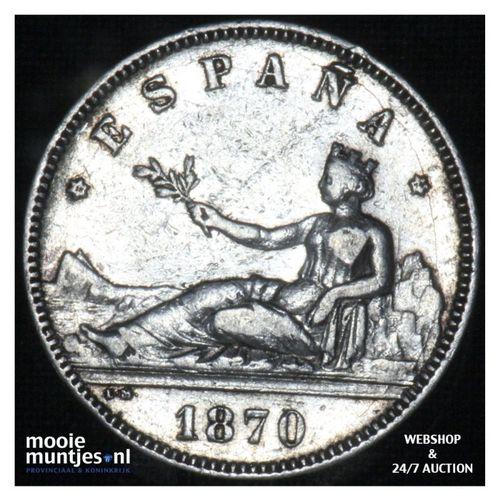 2 pesetas - third decimal coinage -  - Spain 1870 (74) DE-M (KM 654) (kant A)