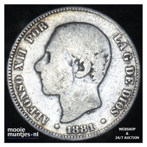 2 pesetas - third decimal coinage -  - Spain 1881 (81) MS-M (KM 678.2) (kant A)