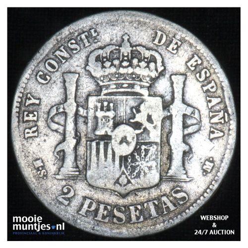 2 pesetas - third decimal coinage -  - Spain 1881 (81) MS-M (KM 678.2) (kant B)
