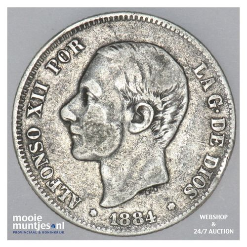 2 pesetas - third decimal coinage -  - Spain 1884 (84) MS-M (KM 678.2) (kant A)
