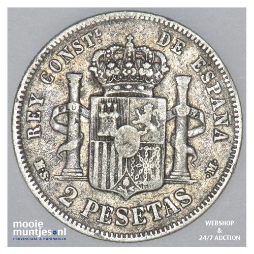 2 pesetas - third decimal coinage -  - Spain 1884 (84) MS-M (KM 678.2) (kant B)