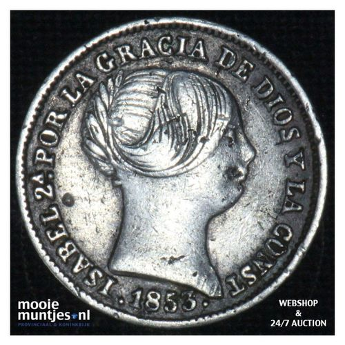 real - decimal coinage - - Spain 1853 (KM 598.3) (kant A)