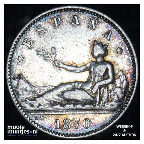 peseta - third decimal coinage -  - Spain 1870 (73) DE-M (KM 653) (kant A)