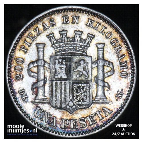peseta - third decimal coinage -  - Spain 1870 (73) DE-M (KM 653) (kant B)