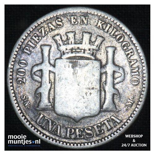 peseta - third decimal coinage -  - Spain 1869 SN-M (KM 653) (kant B)
