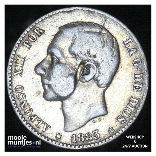 peseta - third decimal coinage -  - Spain 1883 (83) MS-M (KM 686) (kant A)