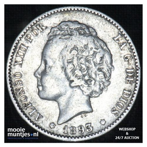peseta - third decimal coinage -  - Spain 1893 (93) PG-L (KM 702) (kant A)