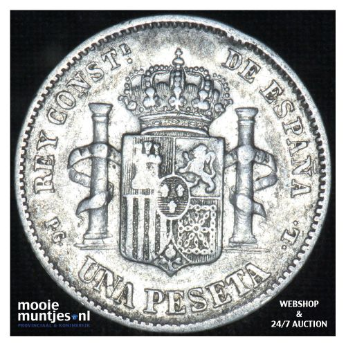 peseta - third decimal coinage -  - Spain 1893 (93) PG-L (KM 702) (kant B)