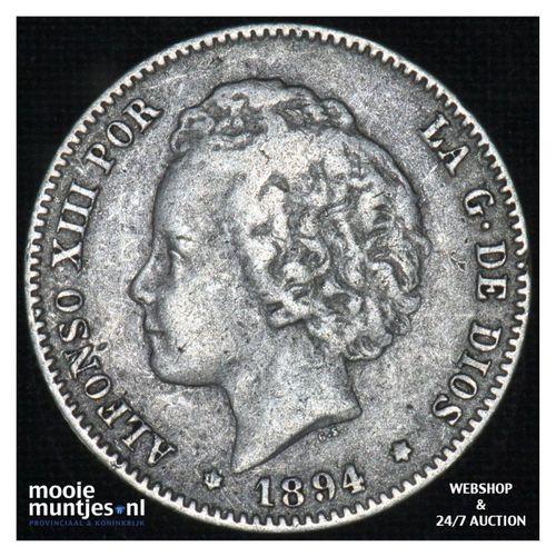 peseta - third decimal coinage -  - Spain 1894 (94) PG-V (KM 702) (kant A)