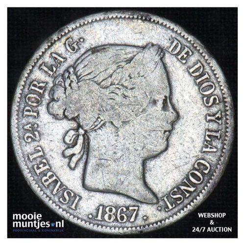 40 centimos - second decimal coinage - - Spain 1867 (KM 628.2) (kant A)