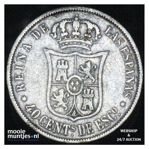 40 centimos - second decimal coinage - - Spain 1867 (KM 628.2) (kant B)