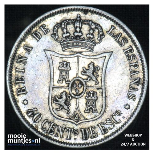 40 centimos - second decimal coinage - - Spain 1866 (KM 628.2) (kant B)