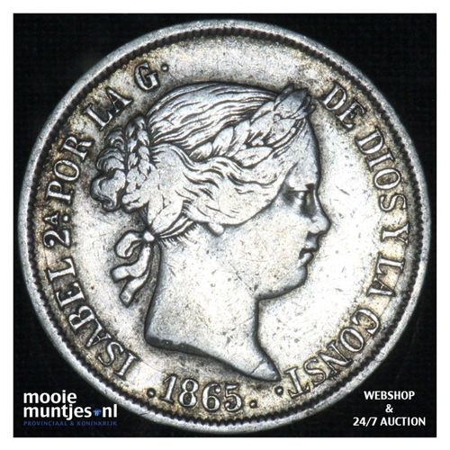 40 centimos - second decimal coinage - - Spain 1865 (KM 628.2) (kant A)