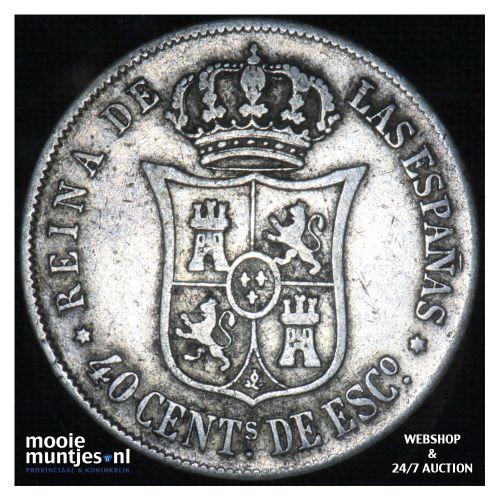 40 centimos - second decimal coinage - - Spain 1865 (KM 628.2) (kant B)
