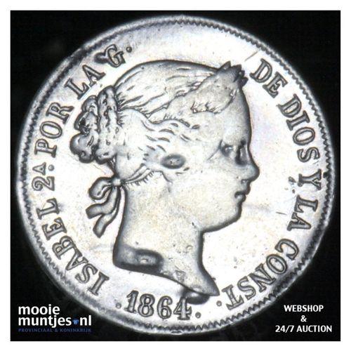 40 centimos - second decimal coinage - - Spain 1864 (KM 628.2) (kant A)