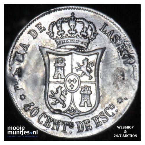 40 centimos - second decimal coinage - - Spain 1864 (KM 628.2) (kant B)