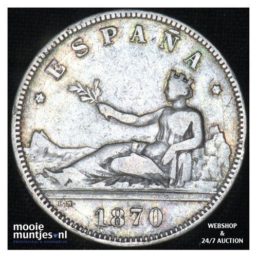 2 pesetas - third decimal coinage -  - Spain 1870 (70) SN-M (KM 654) (kant A)