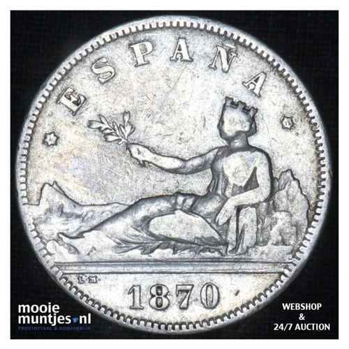 2 pesetas - third decimal coinage -  - Spain 1870 (73) DE-M (KM 654) (kant A)
