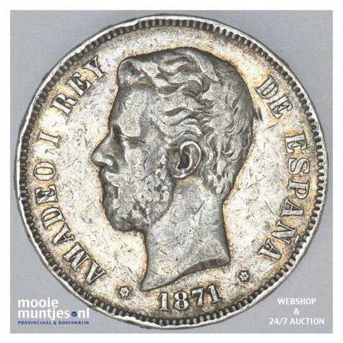 5 pesetas - third decimal coinage -  - Spain 1871 (74) DE-M (KM 666) (kant A)