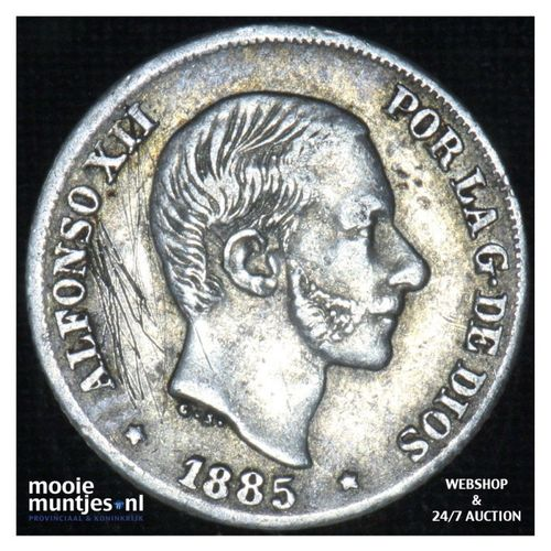 10 centimos - decimal coinage - - Philippines 1885 over 83 (KM 145) (kant A)