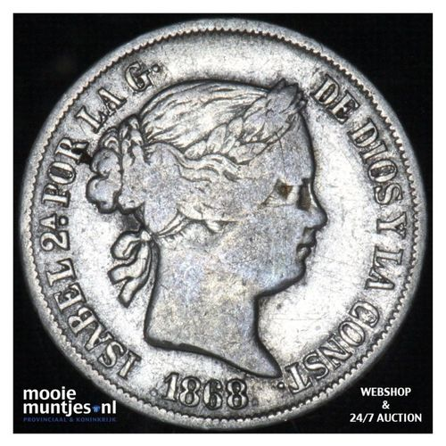 20 centimos - decimal coinage - - Philippines 1868 (KM 146) (kant A)