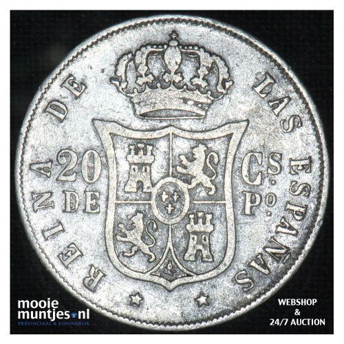 20 centimos - decimal coinage - - Philippines 1868 (KM 146) (kant B)
