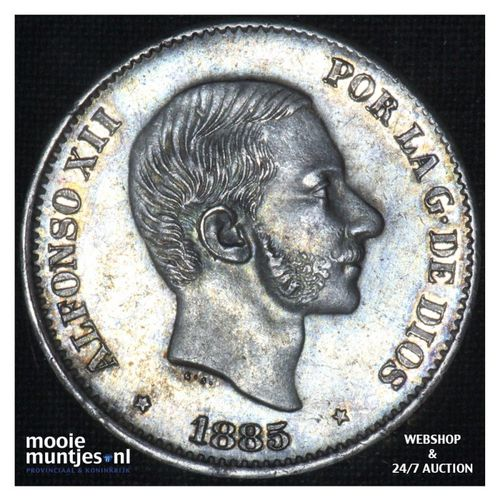 50 centimos - decimal coinage - - Philippines 1885 (KM 150) (kant A)