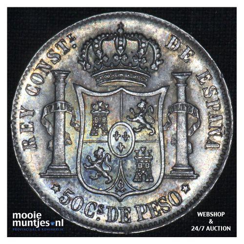 50 centimos - decimal coinage - - Philippines 1885 (KM 150) (kant B)