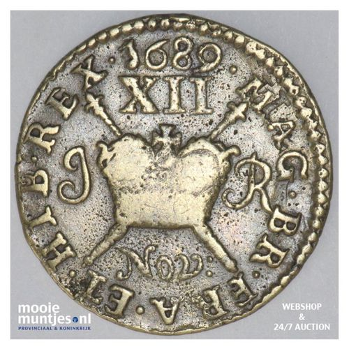 shilling - gun money coinage - - Ireland 1689 NOV (KM 94) (kant A)