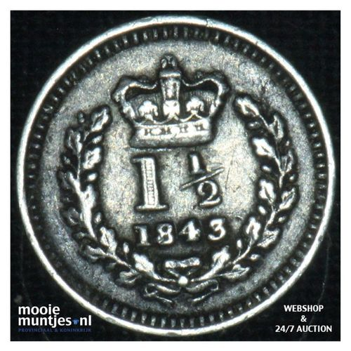 1-1/2 pence - Great Britain 1843 (KM 728) (kant A)