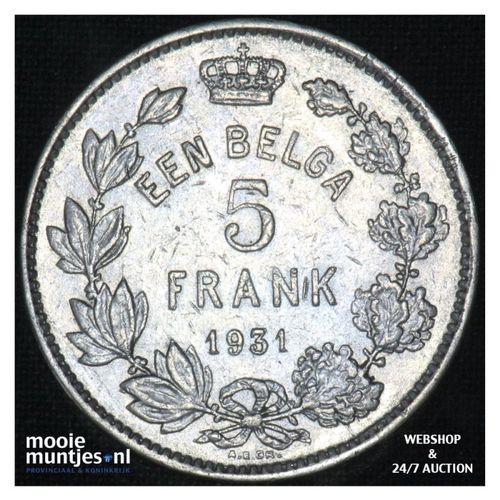 5 francs (5 frank) - Belgium 1931 (KM 98) (kant A)