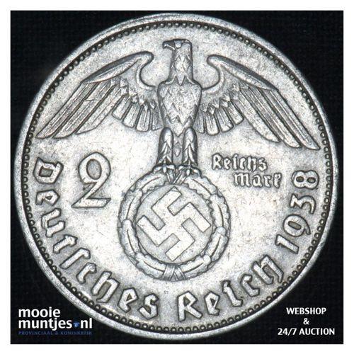 2 reichsmark - Third Reich 1938 B (KM 93) (kant A)
