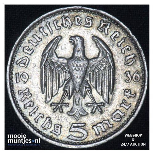 5 reichsmark - Third Reich 1936 F (KM 86) (kant A)