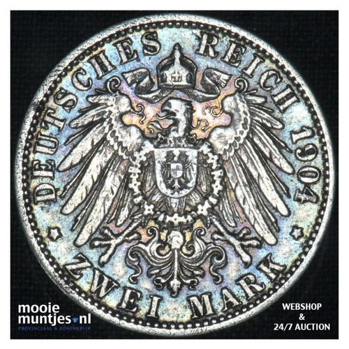 2 mark - reform coinage - - German States/Baden 1904 G (KM 272) (kant A)