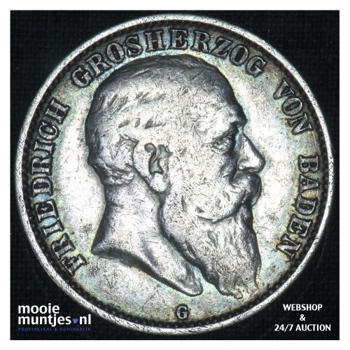 2 mark - reform coinage - - German States/Baden 1904 G (KM 272) (kant B)