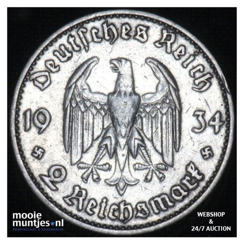 2 reichsmark - Third Reich 1934 D  (KM 81) (kant A)