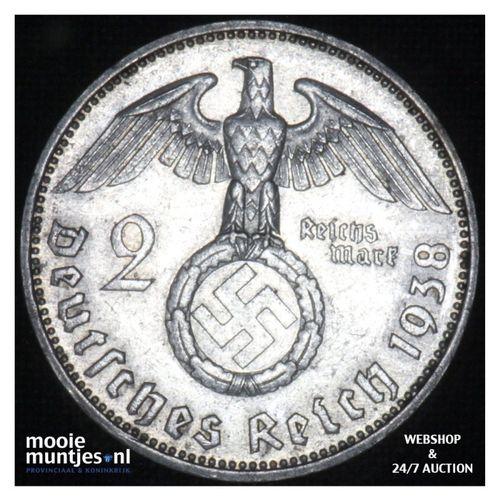 2 reichsmark - Third Reich 1938 F (KM 93) (kant A)
