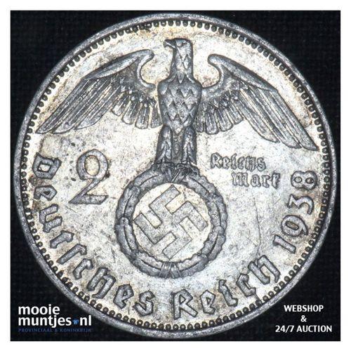 2 reichsmark - Third Reich 1938 E (KM 93) (kant A)