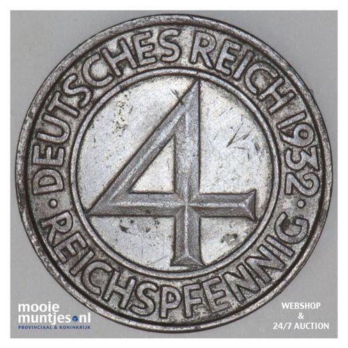 4 reichspfennig - Weimar Republic 1932 J (KM 75) (kant A)