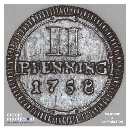 2 pfennig - (city) - German States/Munster 1758 (KM 337) (kant A)