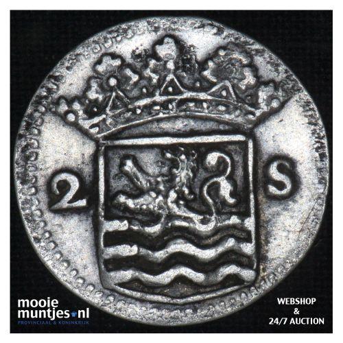 Zeeland - Dubbele wapenstuiver - 1735 (kant B)