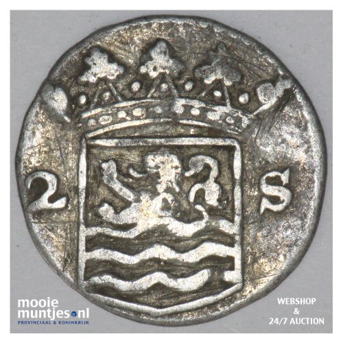 Zeeland - Dubbele wapenstuiver - 1750 (kant B)